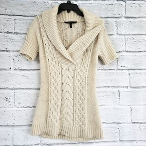 Bcbgmaxazria ivory cableknit short sleeve sweater